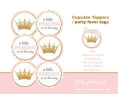 Little Princess Baby Shower, crown, Little princess cupcake topper, Baby shower cupcake topper, Baby girl, pink and gold, printable pdf