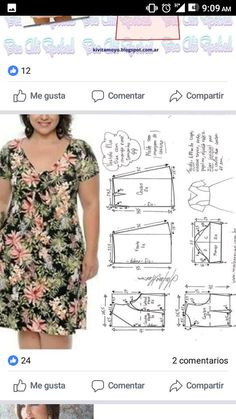 Best 12 V-Neck Three Quarter Length Sleeve Dress Easy Sewing Patterns, Clothing Patterns, Dress Patterns, Sewing Blouses, Plus Size Sewing, Make Your Own Clothes, Dressmaking, Plus Size Outfits, Dresses With Sleeves