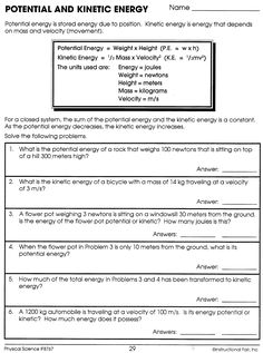 Worksheets Potential And Kinetic Energy Worksheet potential and kinetic energy worksheet answers projects to try answers