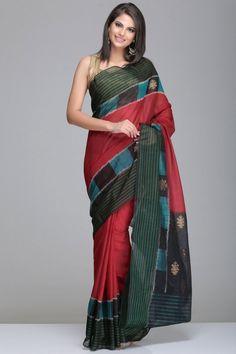 Maroon Pochampally Silk Cotton Saree With Green And Black Border  And Black Pallu With Gold Zari Floral Motifs
