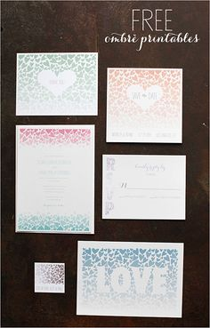 Ombre Wedding Set - Invitation, save-the-date, thank you card, favor tags, escort cards and an adorable love sign. Free PDF Printables.