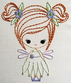 Fairy, Genie, e Big Bow Dress up Cutesie Meninas Padrões de Bordado Digital Silk Ribbon Embroidery, Hand Embroidery Patterns, Embroidery Applique, Cross Stitch Embroidery, Machine Embroidery, Simple Embroidery, Embroidery Techniques, Stitch Patterns, Needlework