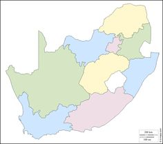South Africa : free map, free blank map, free outline map, free base map : outline, provinces, color (white)