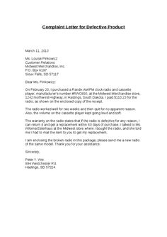 Your Letter Click The Quot Print Button Customer Complaint