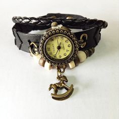 Wrap Watch , Horse Charm, Vintage Style, Charm Leather Watch, Women Watches, Beaded Watch,  Antique,