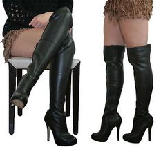 Topshop''Barley2''Over The Knee Boot Leather Thigh High Platform Stiletto UK4/37