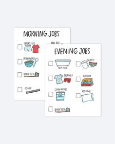 Jump start and end your day with these adorable chore charts. These PRINTABLE charts are perfect for your toddler or child. Download includes TWO different color schemes and morning and evening job charts, as shown in photos above. Files will be available to download through your Etsy account following purchase. Print and laminate to use over and over again. Reusable stickers or dry erase markers work well to mark off each chore. All files are 8.5x11 PDFs and cannot be edited or changed in…