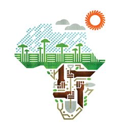 """Illustration for an article on plans to build a sub-Saharan """"wall"""" of vegetation to lessen erosion and create sustainable farming for African farmers short on food supply."""