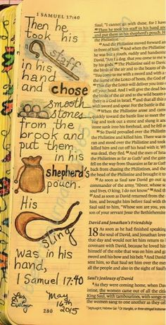 Easy Bible Art Journaling Journey: 1 Samuel 17:40 (May 16th)