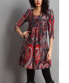 Another great find on #zulily! Red Paisley Empire-Waist Tunic #zulilyfinds