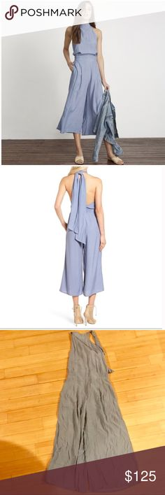 """Faithful the Brand Shore Jumpsuit The Faithfull the Brand Shore Jumpsuit features a high halter neck tie, an open back, wide-leg culottes, & a partially elasticized waist. Handmade, hand-dyed & hand-printed. In the print """"Oxford Stripe"""". 49"""" length; 21"""" inseam; 30"""" leg opening. Faithfull size M, US size 6🌊 BNWT Faithfull the Brand Pants Jumpsuits & Rompers"""