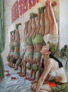 HM Recite the Three Constantly Read Articles Chinese Propaganda Posters, Propaganda Art, Chinese Contemporary Art, China Art, Arte Pop, Pulp Art, Pin Up Art, Military Art, Erotic Art