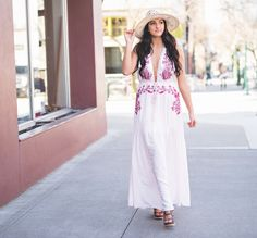 Pastel Pinks with delicate embroidery make this dress ideal for #Easter Brunch!  Maxi $57 https://nanamacs.com/collections/new-arrivals/products/someone-new-embroidered-detail-open-back-halter-maxi-dress-pale-pink Wedges $55 https://nanamacs.com/collections/shoes/products/on-the-sea-strappy-platform-wedges-taupe