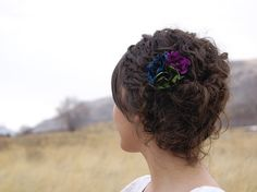 Blue Flower Clip Teal Violet Green Wedding Fascinator Hair Clip Flower Wedding Flower Bridal Party Flower Bridesmaid Flower Magenta