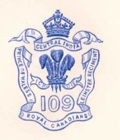C1900 109TH FOOT LEINSTER REGT ROYAL CANADIANS PAPER EMBOSSED LETTERHEAD CREST