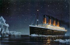 No photographs exist of the events of April 14-15, 1912 but through the talent of Ken Marschall we can see what it might have been like at that moment. Here the Titanic is about to strike the iceberg.  © Ken Marschall