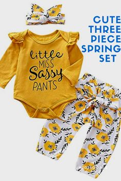 2020 Cute three piece baby outfit that is a must have this spring. Get this super cute and affordable yellow spring outfit for your baby today.   ❤Infant girl outfits,bright color and ruffle shoulder design,long sleeve tshirt and flower trouser,make your baby more adorable.  ❤Perfect for a daily wear or many occasions such as homewear, playing outside,birthday party,baby photography,family day,park and any other special festival in spring and autumn.