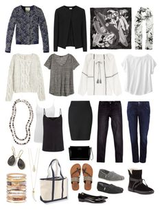 """basics for casual wardrobe (black, navy/denim, grey, white & shell jewelry)"" by confluence ❤ liked on Polyvore featuring Isabel Marant, Yves Saint Laurent, Billabong, Dolce&Gabbana, Violeta by Mango, Reiss, City Chic, Eileen Fisher, Maison Scotch and TOMS"