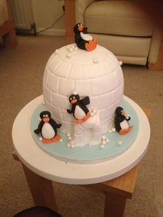 Igloo penguin cake
