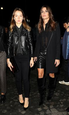 Princess Caroline of Monaco's daughters Princess Alexandra of Hanover and Charlotte Casiraghi rocked leather looks at Saint Laurent.