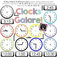 This clock clipart set has 529+ possible clock combinations! There are 110 different images included. Image files are 300 dpi and png format. Analog and digital clocks for every 15 minutes! #TpT #TeacherGems #TellingTime #Math