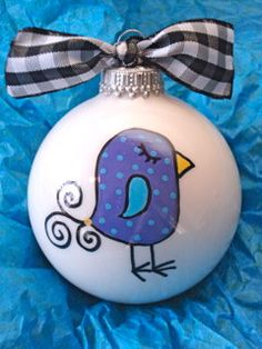 Bird - Hand Painted Personalized Ornament - Purple/Blue