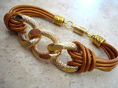 "Boho Chic Bronze Leather Gold Chunky Curb Chain Bracelet ... Magnetic Clasp ...""FREE SHIPPING""   by LeatherDiva, $24.00"