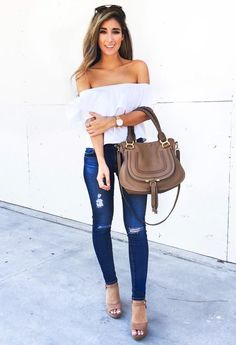 Off the shoulder white blouse, skinny jeans, open toe wedges. Beauty on High Heels #Fashion