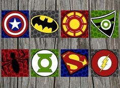 Printable Superhero Logo Art Prints- 4 digital, printable files Yes to batman, green lantern, flash,and superman. No to the rest.
