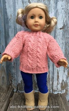 ABC Knitting Patterns - American Girl Doll Aran Sweater