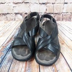 Women's MBT Black Leather Sandals Size 8.5 EU 39 Criss Cross & Adj. Ankle Straps #MBT #Strappy #Casual