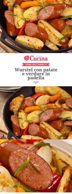 Wurstel con patate e verdure in padella