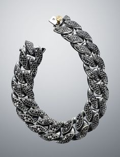 David Yurman - Wide Black Diamond Curb Chain Bracelet