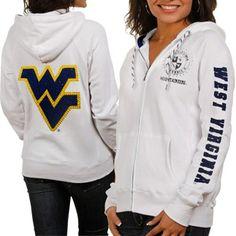 West Virginia Mountaineers Ladies White Glitz & Glamour Full Zip Hoodie Sweatshirt...size medium