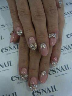 Nail Art Wedding Dresses | Gorgeous Crystal Design Nail Art