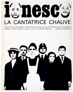Robert Massin cover from Eugene Ionesco's La Contatrice chauve, 1964. The pictorial directness of the comic book is combined with the expressive typography of futurist poetry.