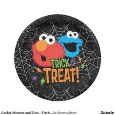 Cookie Monster and Elmo - Trick or Treat. Regalos, Gifts. #plato #plate