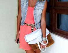 love this coral dress with the cheetah belt and jean jacket!