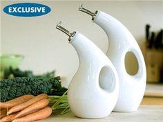 Rachael Ray Stoneware 2-pc. EVOO and Vinegar Set: White