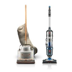 Two of our greatest innovations: The Hoover Model O (more than 100 years old) beside the first full-size, cordless bagless upright vacuum, the Hoover Air Cordless.