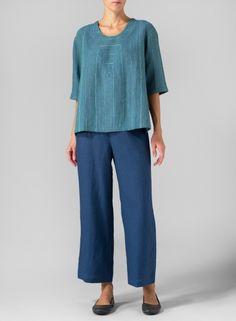 MISSY Clothing - Linen Three-Quarter Sleeve Stripe Top