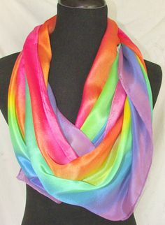 Pastel rainbow silk scarf or shawl. 2 sizes aa1ca90903d9b