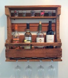 Check out THIS BAD BOY! He's handmade with love from pallet wood. He works as a wine rack, & a shot glass holder. Power tools + pallet wood = art :D (diy pallet wine rack)