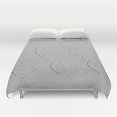 Silver Gray Embossed Heart Abstract Duvet Covers by Judy Palkimas