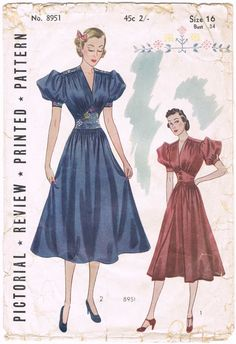 Vintage Dress Blue Red full skirt puff sleeves yoke belt war era Sewing Pattern - Size 16 - Bust 34 - Misses' And Junior Frock Dress 1930s Fashion, Fashion Sewing, Retro Fashion, Vintage Fashion, Fashion Fashion, Vintage Dress Patterns, Vintage Dresses, Vintage Outfits, Clothing Patterns