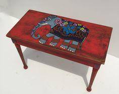 hand painted indian style elephant piano bench