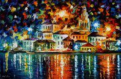 1655     36x24   NIGHT HARBOUR - oil painting by Leonid Afremov by Leonid Afremov Art Gallery, via Flickr