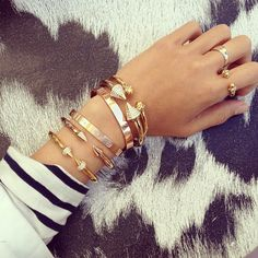 layered bracelets + stripes