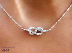 Infinity collier, collier pendentif diamant, collier en or blanc, Infinity nouez collier, pendentif en or, bijoux faits main