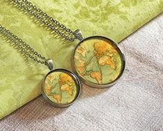 Handmade engraved 1875 world map necklace jewelry pendant set gift for couple unique birthday gift idea gift for parent Resin Pendant, Pendant Set, Pendant Jewelry, Jewelry Necklaces, Pendant Necklace, Etsy Jewelry, Crystal Jewelry, Sterling Silver Jewelry, Silver Jewellery